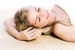 Beautiful woman enjoying a spa treatment Stock Photo