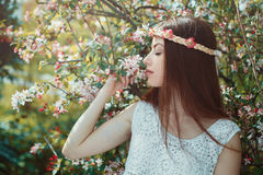 Beautiful woman enjoying spring beauty Stock Image