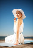 Beautiful woman enjoying summer outdoors Stock Images