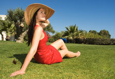 Beautiful woman enjoying the sun Stock Photo