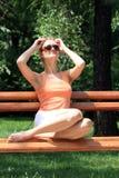 Beautiful woman  enjoying the sun Royalty Free Stock Photo