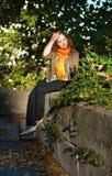 Beautiful woman enjoying sunny morning in park Royalty Free Stock Images