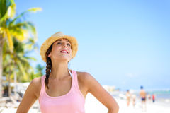 Beautiful woman enjoying tropical summer vacation Royalty Free Stock Images