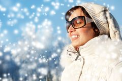 Beautiful  woman enjoying winter day Royalty Free Stock Images