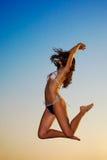 Beautiful woman enjoys freedom Stock Image