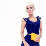 beautiful woman in an evening dress with a clutch Stock Photos
