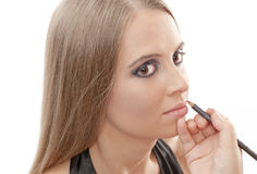 Beautiful woman with evening make-up. Over white. Fashion photo Royalty Free Stock Photo