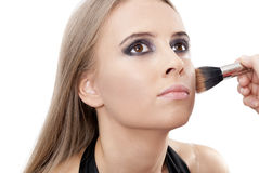 Beautiful woman with evening make-up. Over white. Fashion photo Stock Photos