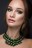 Beautiful woman with evening make-up and dark hair . Smoky eyes. Fashion photo. Royalty Free Stock Photos