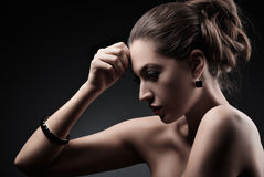Beautiful woman with evening make-up and Jewelry Royalty Free Stock Photo