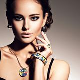 Beautiful woman with evening make-up jewelry Royalty Free Stock Image