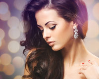Beautiful woman with evening make-up. Royalty Free Stock Photography