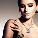 Beautiful woman with evening make-up jewelry Royalty Free Stock Photo