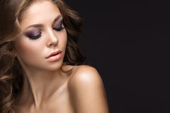 Beautiful woman with evening make-up and long straight hair . Smoky eyes. Fashion photo Royalty Free Stock Image