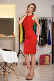 Beautiful woman in evening short dress for party Stock Photo