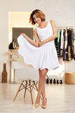 Beautiful woman in evening short sexy dress for party Stock Photos