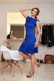 Beautiful woman in evening short dress for party Stock Images