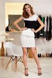 Beautiful woman in evening short sexy dress for party Stock Image