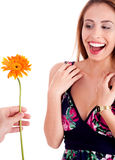 Beautiful woman excited by geting sun flower Stock Photo