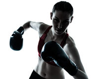 Beautiful woman exercising box Royalty Free Stock Image