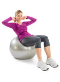Beautiful Woman Exercising On Fitness Ball Royalty Free Stock Image