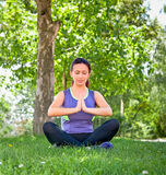 Beautiful woman exercising yoga in park. Royalty Free Stock Images