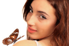 beautiful woman with exotic butterfly Stock Photo