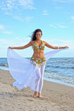 Beautiful woman in exotic dress. Beautiful woman in white exotic dress Royalty Free Stock Photos