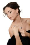 The beautiful woman with expensive jewelry Royalty Free Stock Photography
