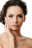 The beautiful woman with expensive jewelry Royalty Free Stock Photos