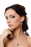 The beautiful woman with expensive jewelry Royalty Free Stock Images