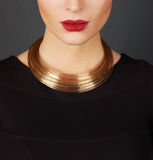 The beautiful woman in expensive necklace Stock Photography