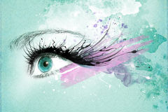 Beautiful woman eye, Artwork with ink in grunge style Royalty Free Stock Photos