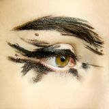 Beautiful woman eye close up with modern make up royalty free stock images