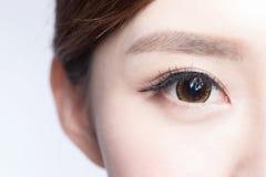 Beautiful woman eye. With long eyelashes. asian model stock image
