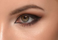 Beautiful woman eye with makeup. Closeup of beautiful woman eye with makeup, eyeliner Royalty Free Stock Photos