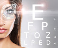 Beautiful woman with eye scanning Stock Image