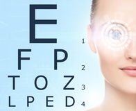 Beautiful woman with eye scanning Stock Photography