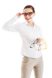 Beautiful woman in eyeglasses holding three different pair of ey Stock Photos