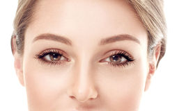 Beautiful woman eyes and nose studio on white background Stock Images