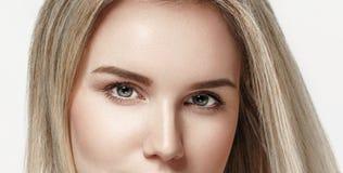 Beautiful woman eyes and nose studio on white background Stock Image