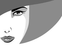 Beautiful woman face. Woman in hat, in shades of gray Royalty Free Stock Image