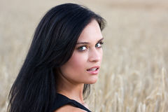 Beautiful woman face. A beautiful woman with black haired amid wheat field Royalty Free Stock Photography