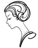 Beautiful woman face stock illustration