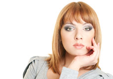 Beautiful woman face. Portrait of attractive redhead young woman isolated on white background Stock Photos