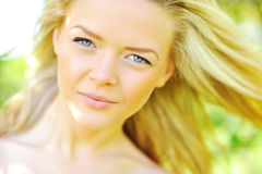 Beautiful woman face. Closeup portrait royalty free stock images