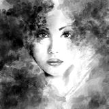 Beautiful woman face. Abstract fashion watercolor illustration Stock Photo