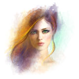 Beautiful woman face. Abstract woman portrait. Summer illustration Stock Photos