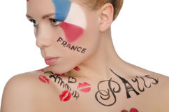 Beautiful woman with face art on theme of France Royalty Free Stock Photography