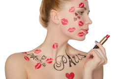 Beautiful woman with face art on theme of Paris Royalty Free Stock Photography